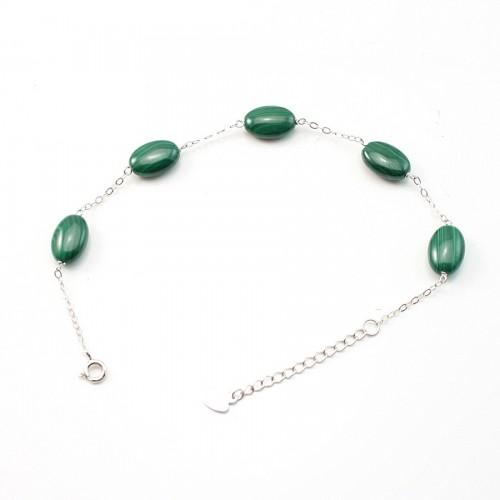 Bracelet chaîne argent 925 malachite