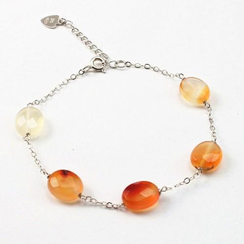 Bracelet chaîne argent 925 Cornaline