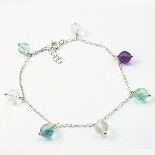 Bracelet chaîne argent 925 fluorite ovale