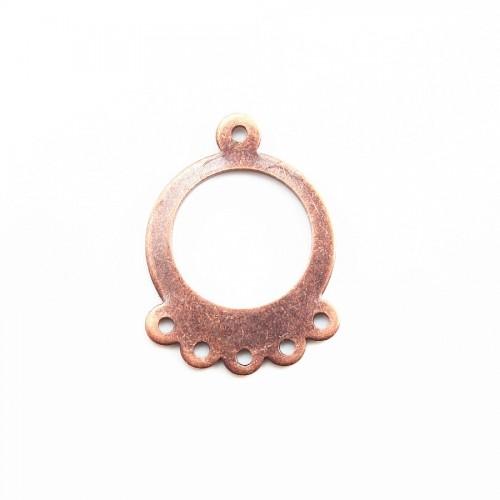 Chandelier ronde 5 anneaux cuivre 20*15mm x 2pcs