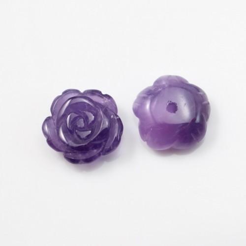 Cabochon amethyste  fleur  15mm x 1pc