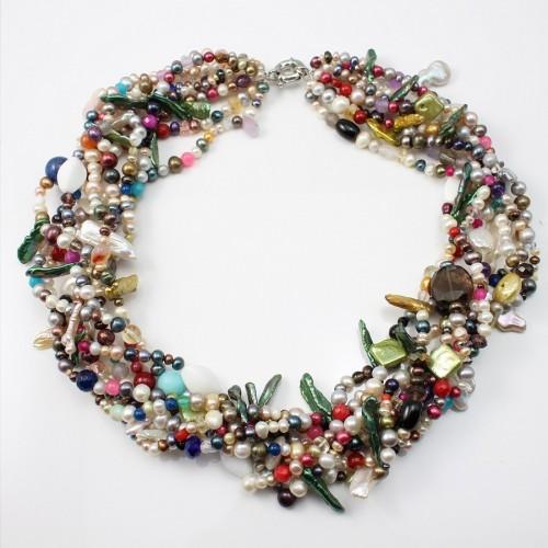 Collier Torsade 8R multicolore Perle d'eau douce