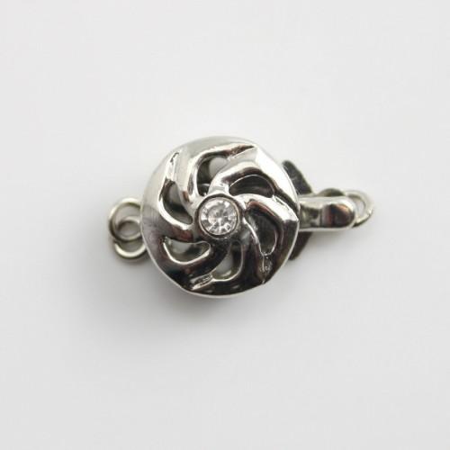 Fermoir clipser,rosace&zircon,argenté ,10mm x 1 pc