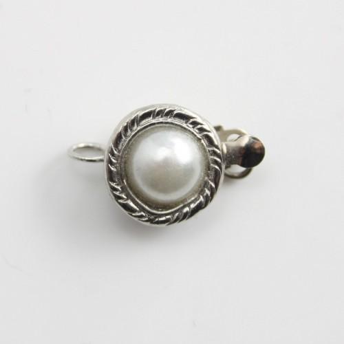 Fermoir clipser,perle serti,argenté ,10.5mm x 1 pc