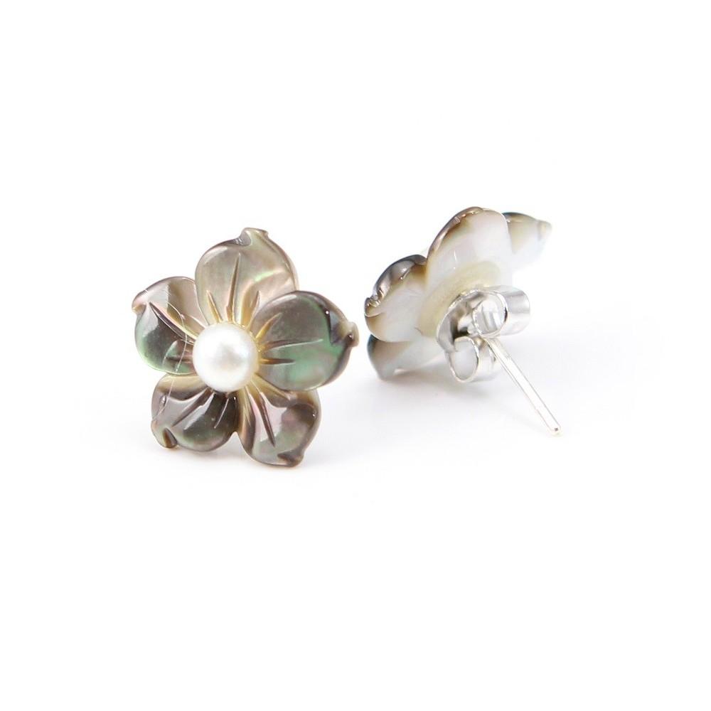 Boucles d oreilles   nacre grise fleur   argent Achat   vente pas cher e980b16243b