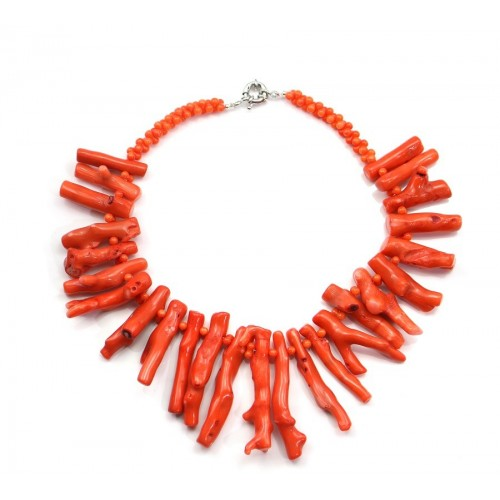Collier en bambou de mer orange