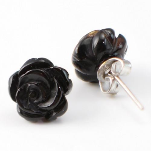 Boucle d'oreille argent 925 agate noir en fleur 10mm X 2 pcs