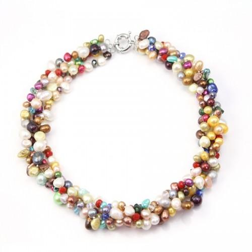 Collier Torsade Perle D'eau Douce Multicolore avec cristal 4rangs