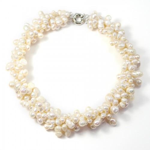 Collier Torsade Perle D'eau Douce Blanc 4 Rang