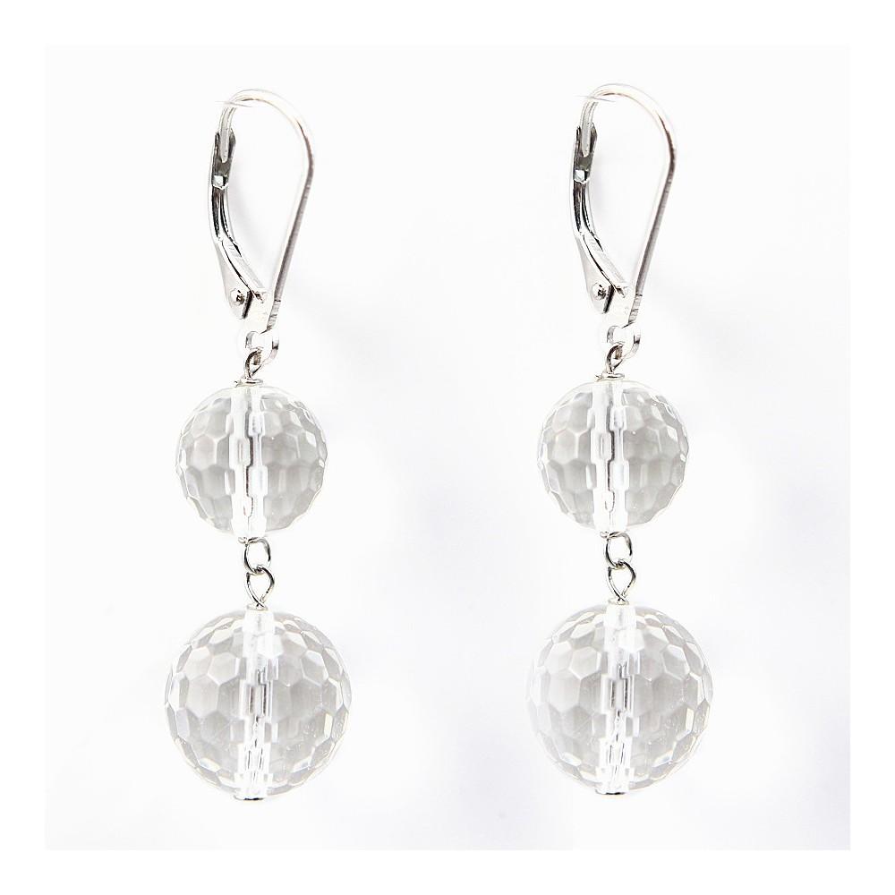 boucle d 39 oreille argent 925 deux boules cristal roche pas cher. Black Bedroom Furniture Sets. Home Design Ideas