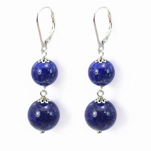 BO ARG925 Dormeuse lapis-lazuli 2 boule x 2pcs