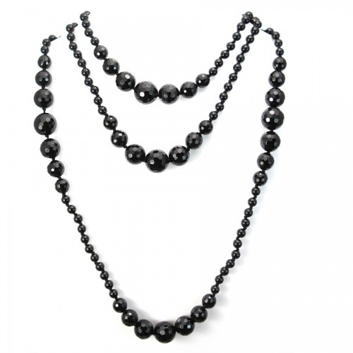 Necklace black agate  140cm