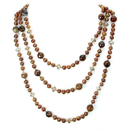 Necklace freshwater pearl brun 7-8 mm & agate X   140cm