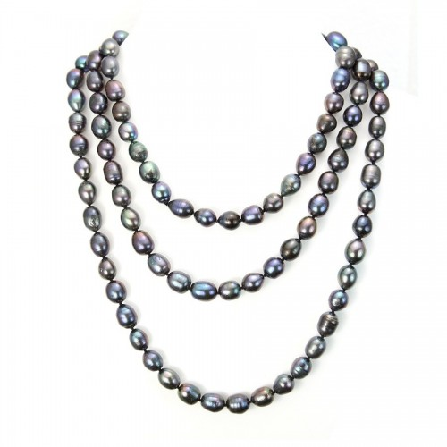 Necklace freshwater pearl dark blue 11-13mmX   140cm