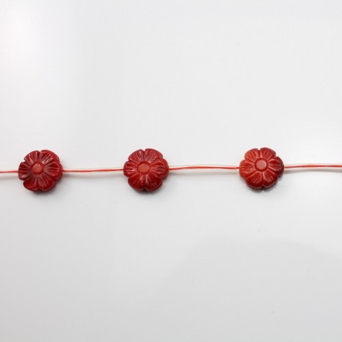 Bambou mer teinte rouge Fleur 14mm X 40cm (14pcs)