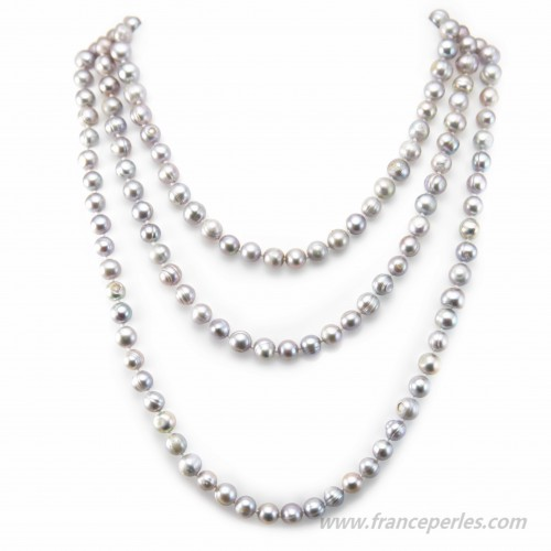 Grey necklace freshwater pearl 140cm
