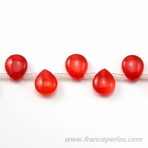 Agate Teinté Goutte Plate Rouge 10*12mm x 2pcs
