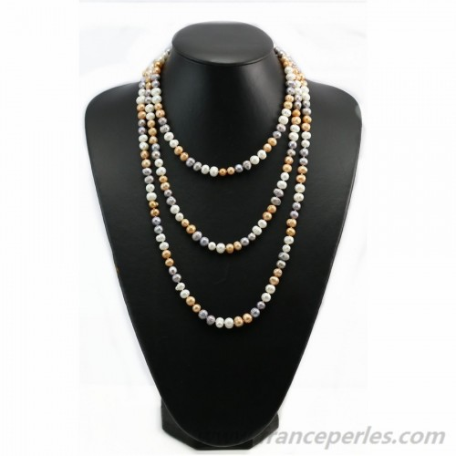 Multicolor gold gray freshwater pearl necklace 160cm