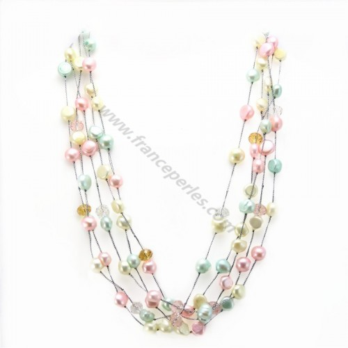 Collier perles d'eau douce blanc bleu rose 5 rangs