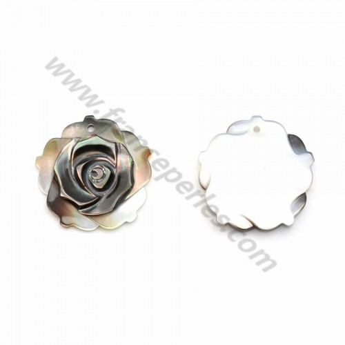 Nacre grise en forme de rose 20mm x 1pc