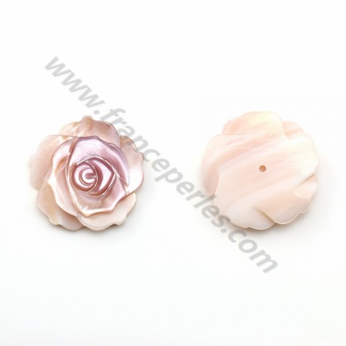 Nacre rose semi-percée en forme de rose 20mm x 1pc
