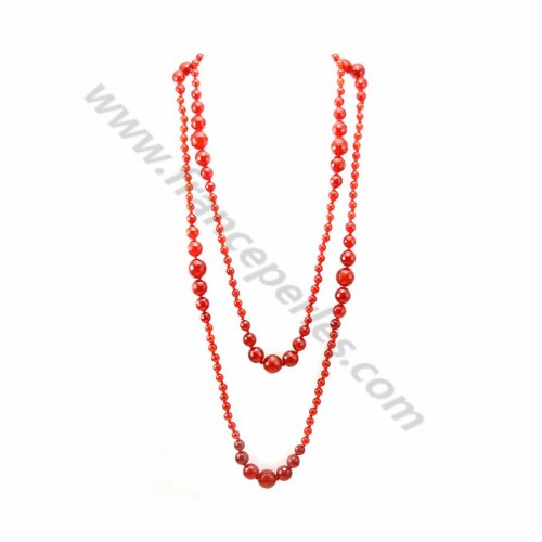 Long necklace red agate x 140 cm