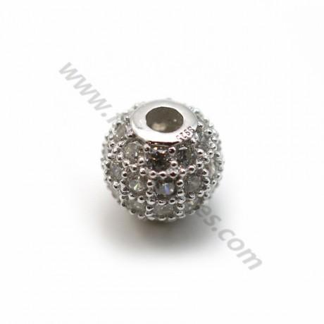 Boule avec strass 6mm en argent 925  x 1 pc