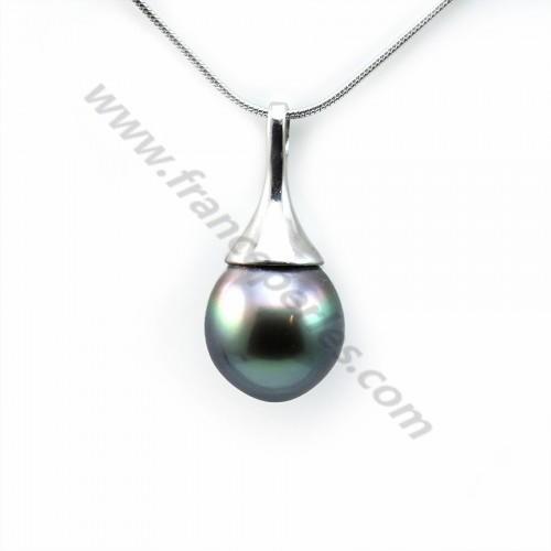 Pendentif Perles Tahiti bélière Argent 925 11x23.5mm x 1pc