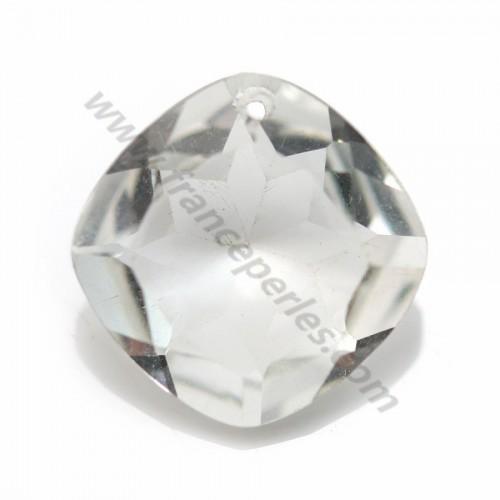 Pendentif  quartz fumé rhombe facette 16.5mm x 1pc