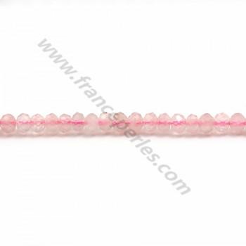 Quartz rose rondelle facette 3*4mm x 40 cm