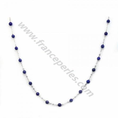 Collier chaine argent 925 lapis-lazuli 4mm x 1pc