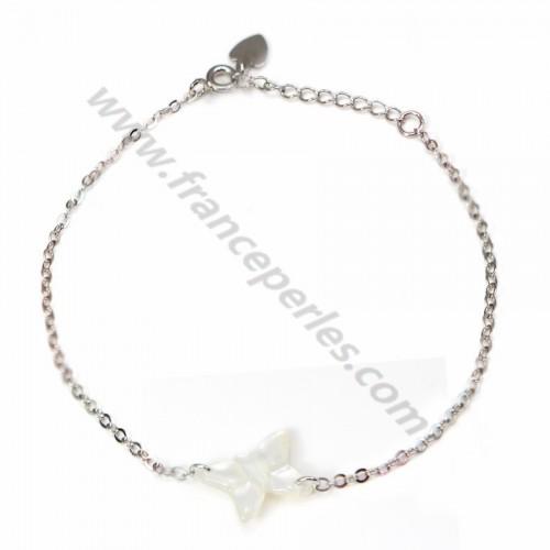 Bracelet chaîne argent 925 papillon en nacre blanc
