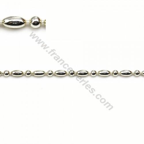 Chaîne perlée en argent 925 boule 2.5mm et oval 2.5*4.5mm x 50cm