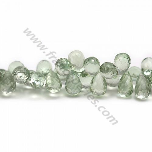 Prasiolite, en forme de briolette facetté, 8 - 8.5 * 13 - 13.5mm x 24cm