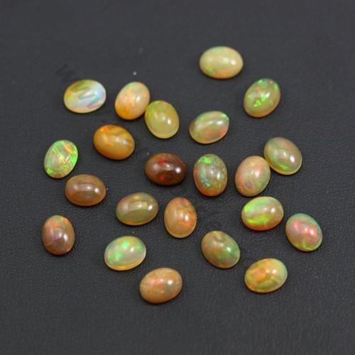 Cabochon d'opale ethiopienne, multicolore, de forme ovale 7 * 9mm x 1pc