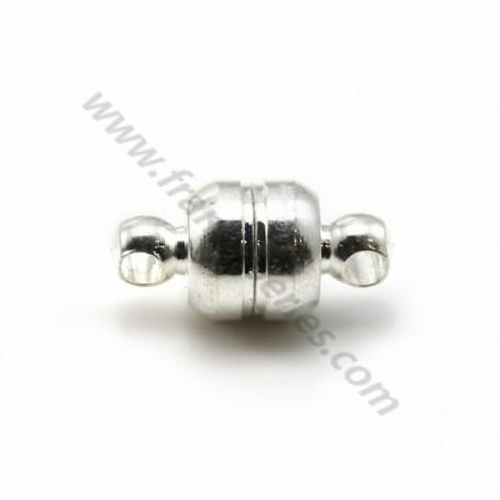 Fermoir aimanté, de forme semi ronde, de couleur argenté, 7 * 5.5mm x 10pcs