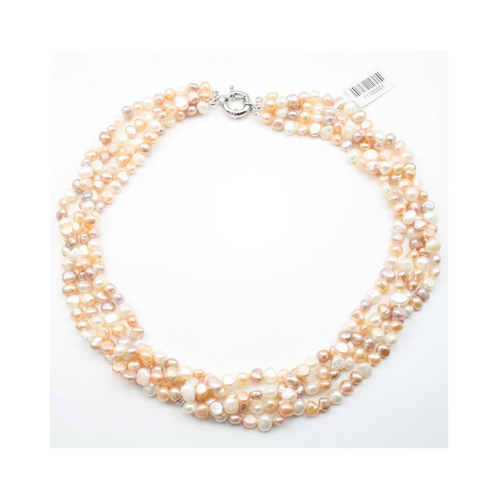 collier torsade perle de culture d 39 eau douce blanc rose saumon. Black Bedroom Furniture Sets. Home Design Ideas