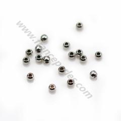 Perle en forme de boule, en argent 925 rhodié, 2 * 0.8mm x 30pcs
