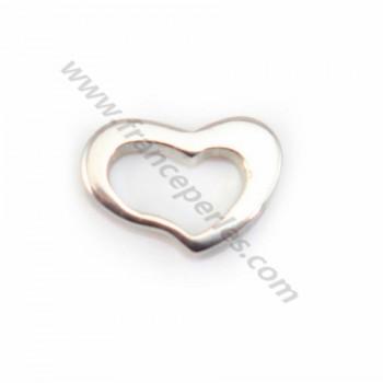 Intercalaire coeur Argent 925, 8x11.5mm  X 1 pc