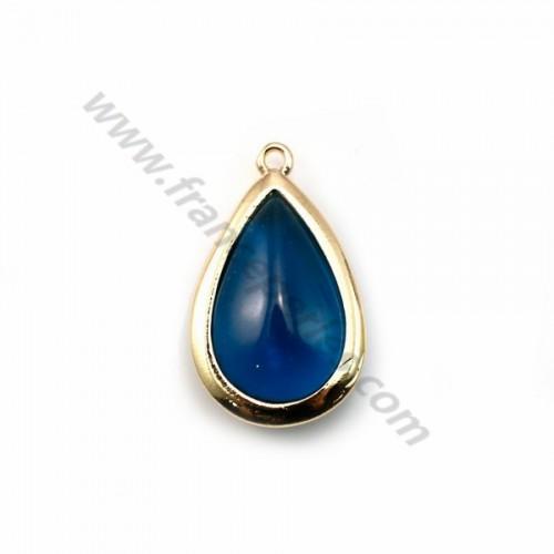 Verre coloré bleu en goutte serti sur métal doré 13.5x22mm x 1pc