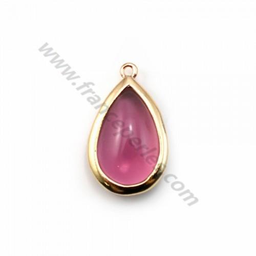 Verre coloré lilas en goutte serti sur métal doré 13.5x22mm x 1pc