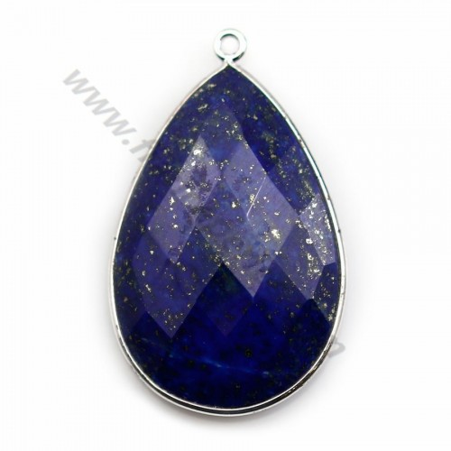 Lapis lazuli pendant set in silver, in the shape of a faceted drop, 21*31mm x 1pc