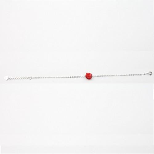 Bracelet argent 925 bamboo de mer teinte rouge fleur
