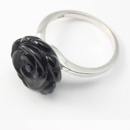 Sterling Silver Ring with Flower on Black Agate