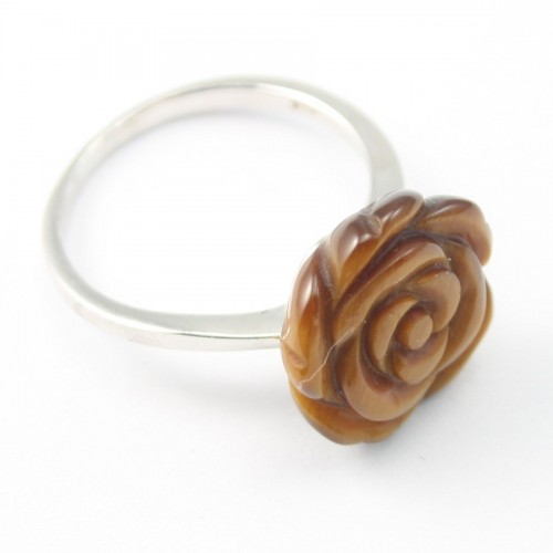 Sterling Silver Ring with Flower on Tiger Eye