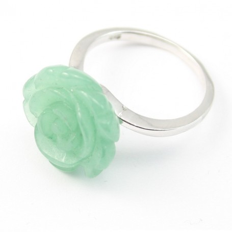 Sterling Silver Ring with Flower on Aventurine