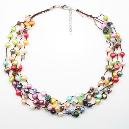 Freshwater Pearl multicolor necklace 4rangs