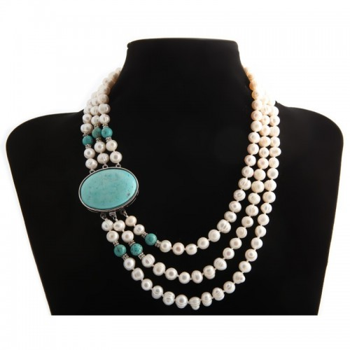 Torsade Freshwater Pearl Color Turquoise Necklace Maelle