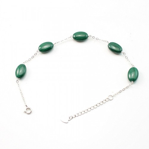 Bracelet chaîne silver 925  malachite