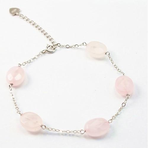 Bracelet chaîne silver 925  Quartez rose